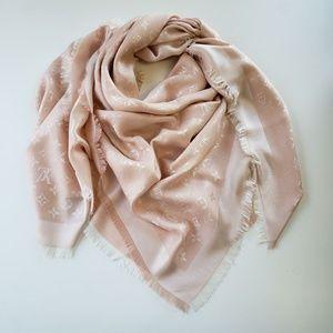 Louis Vuitton Silk Pink Denim Scarf Shawl